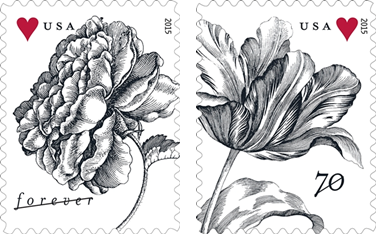 vintage rose and tulip stamps from the USPS