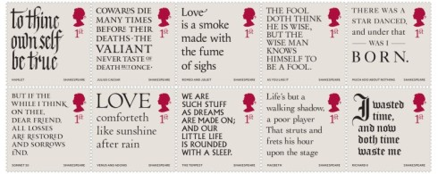 UK Shakesspeare 2016 stamps